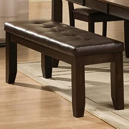 Merveilleux Dining Room Espresso Bench Tufted Leather