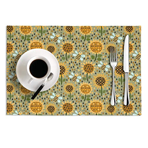 Quinnteens Washable Table Mats Sunflowers and Bees Friendly Non-Slip Insulation Placemat (2pcs placemats,12x18 inch) -