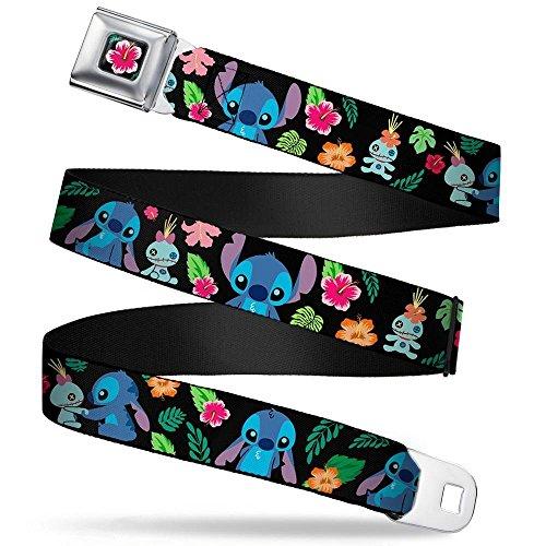 (Lilo & Stitch Hibiscus Flower Full Color Black/Pink Seatbelt Belt - Stitch & Scrump Poses/Tropical Flora Webbing REGULAR)