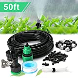 Qilampe Drip Irrigation Kit Misting System,50ft 1/4'' Tubing Watering Kit Automatic Blank Distribution Misting System Tubing Hose with 10pcs Plastic Mist Nozzle Sprinkler for Garden Outdoor Patio