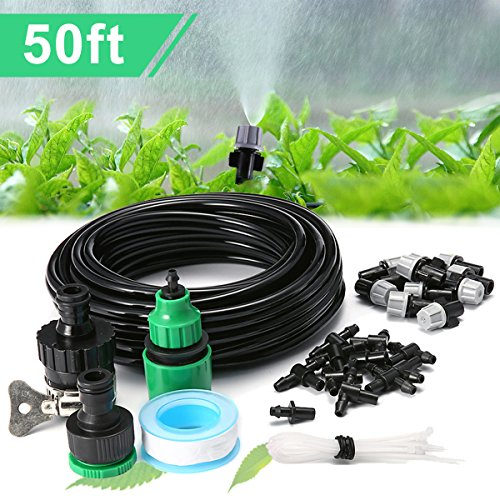 Qilampe Drip Irrigation Kit Misting System,50ft 1/4'' Tubing Watering Kit Automatic Blank Distribution Misting System Tubing Hose with 10pcs Plastic Mist Nozzle Sprinkler for Garden Outdoor Patio ()