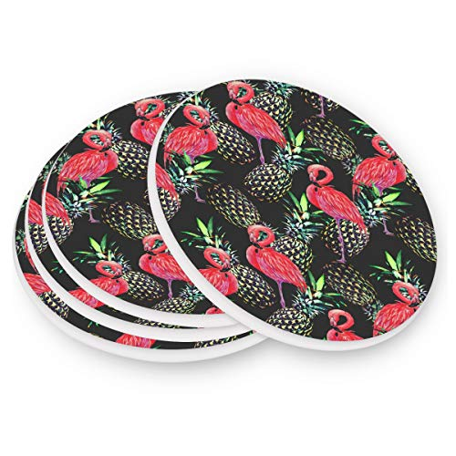 (visesunny Flamingo Pineapple Drink Coaster Moisture Absorbing Stone Coasters Set 1 with Cork Base for Tabletop Protection Prevent Furniture)