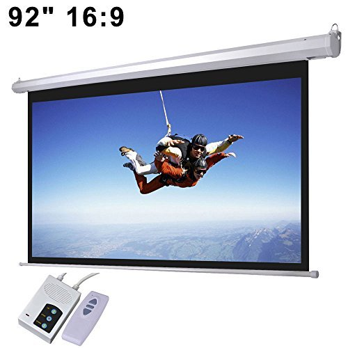 92'' 16:9 Aspect Ratio Electric Motorized Mountable Projector Screen with Remote Control by ShopOC