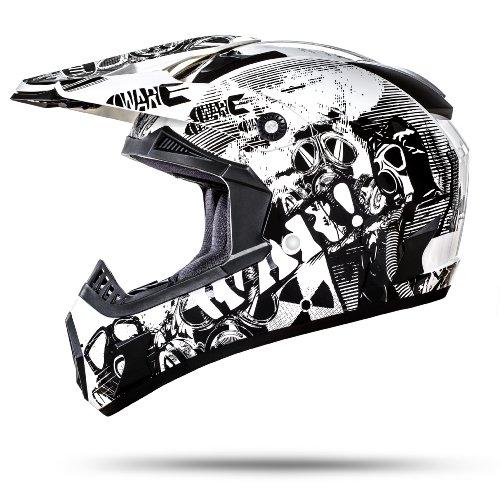 GS ATO Nevada Weiß Größe S 55-56cm Motocrosshelm mit ausziehbarer Sonnenblende und der neusten Sicherheitsnorm ECE 2205
