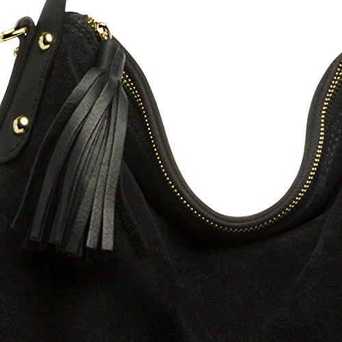 style TL765 Noir en Sac daim main Hobo CASPAR porté véritable femme à épaule pour FOqwdq5WzT