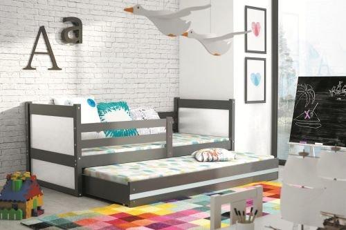 Kinder - Doppelbett Nico Graphit Farbe W = weiß, Größe Liegefläche 190 x 80 cm