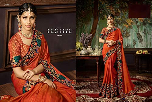 7271 Silk Designer Sari Lavoro Pesante Saree Pakistani Wedding Bridal Sposa Bollywood Indiano Ethnic Di Jari 6RxqnZwn