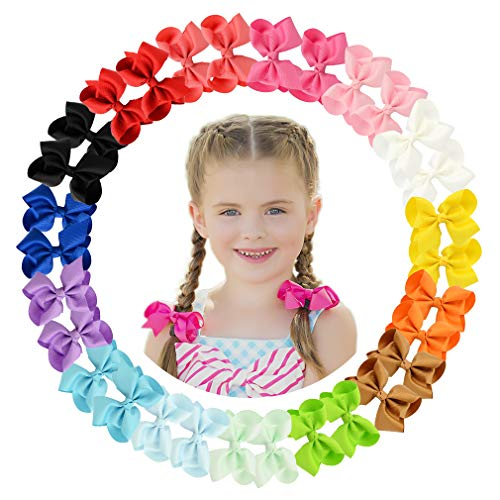 CHLONG 30pcs 4 Inches Grosgrain Ribbon Hair Bow Clips Set for Girls Toddlers Kids Teens 15 Color (4inch-30pcs)