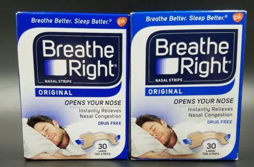 Breathe Right ORIGINAL TAN (60) Nasal Strips LARGE Opens Nose