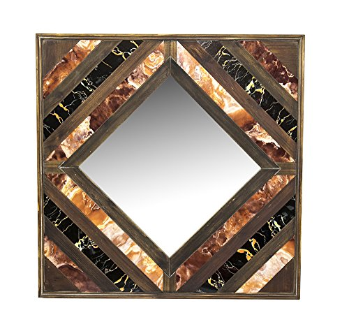 Benzara Wooden Square Shaped Wall Mirror with Inlay, Multicolor
