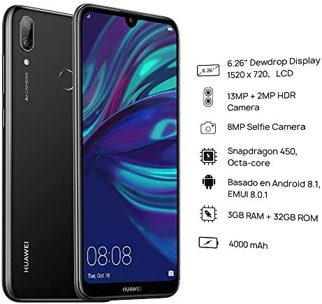 Huawei Y7 2019 Dub-LX3 32GB Unlocked GSM LTE Android Phone w/Dual 13MP+2MP Camera - Midnight Black