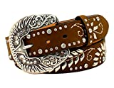 Nocona Women's Wing Scroll Buckle Design Belt, Medium Brown Distressed, S