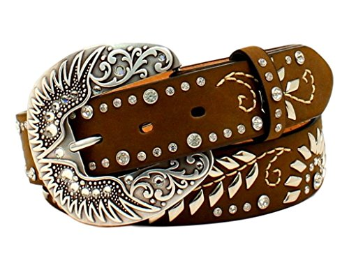Nocona Women's Wing Scroll Buckle Design Belt, Medium Brown Distressed, S by Nocona Boots