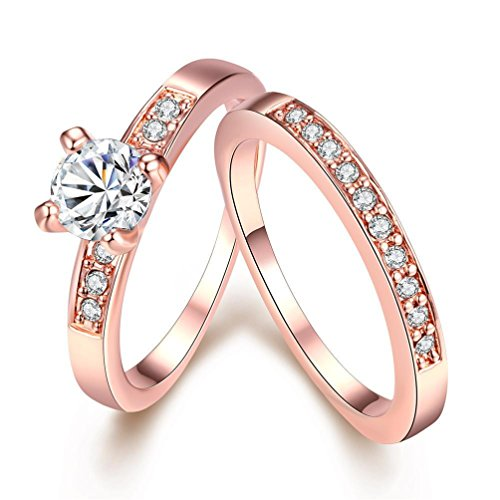 - Womens Fashion Luxury Wedding Jewelry Ring Sets Zircon Prong-set Rose Gold Alloy CZ Engagement Band Size 8