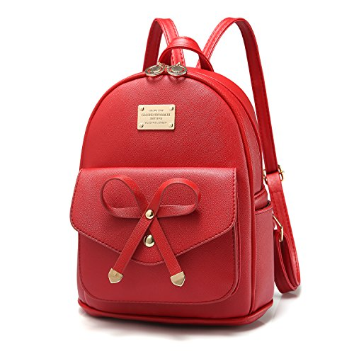 Girls Bowknot Cute Leather Backpack Mini Shoulder Bag Backpack Purse for - Purse Red Backpack