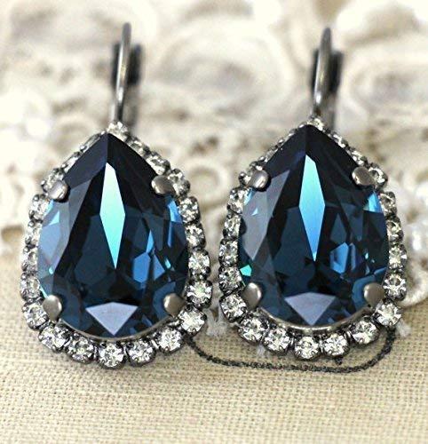 15f60c9c357bd Amazon.com: Bridal Dark Blue Drop Earrings, Teardrop Navy Crystal ...