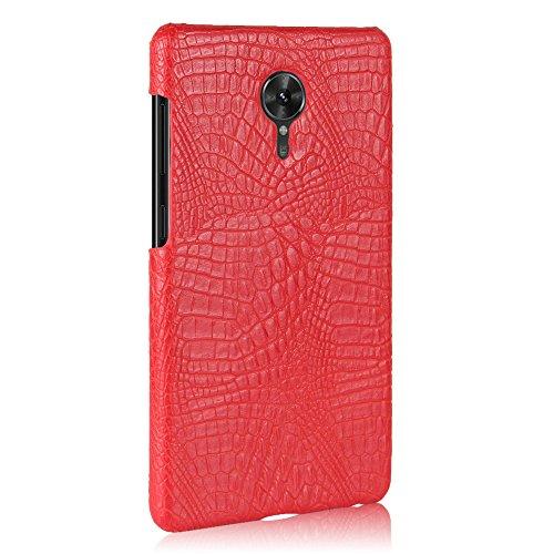 Funda Lenovo ZUK Edge, SunFay Funda Posterior Protector de PC Carcasa Back Cover de Parachoques Piel PU Protectora de Teléfono Para Lenovo ZUK Edge - Rosa Rojo