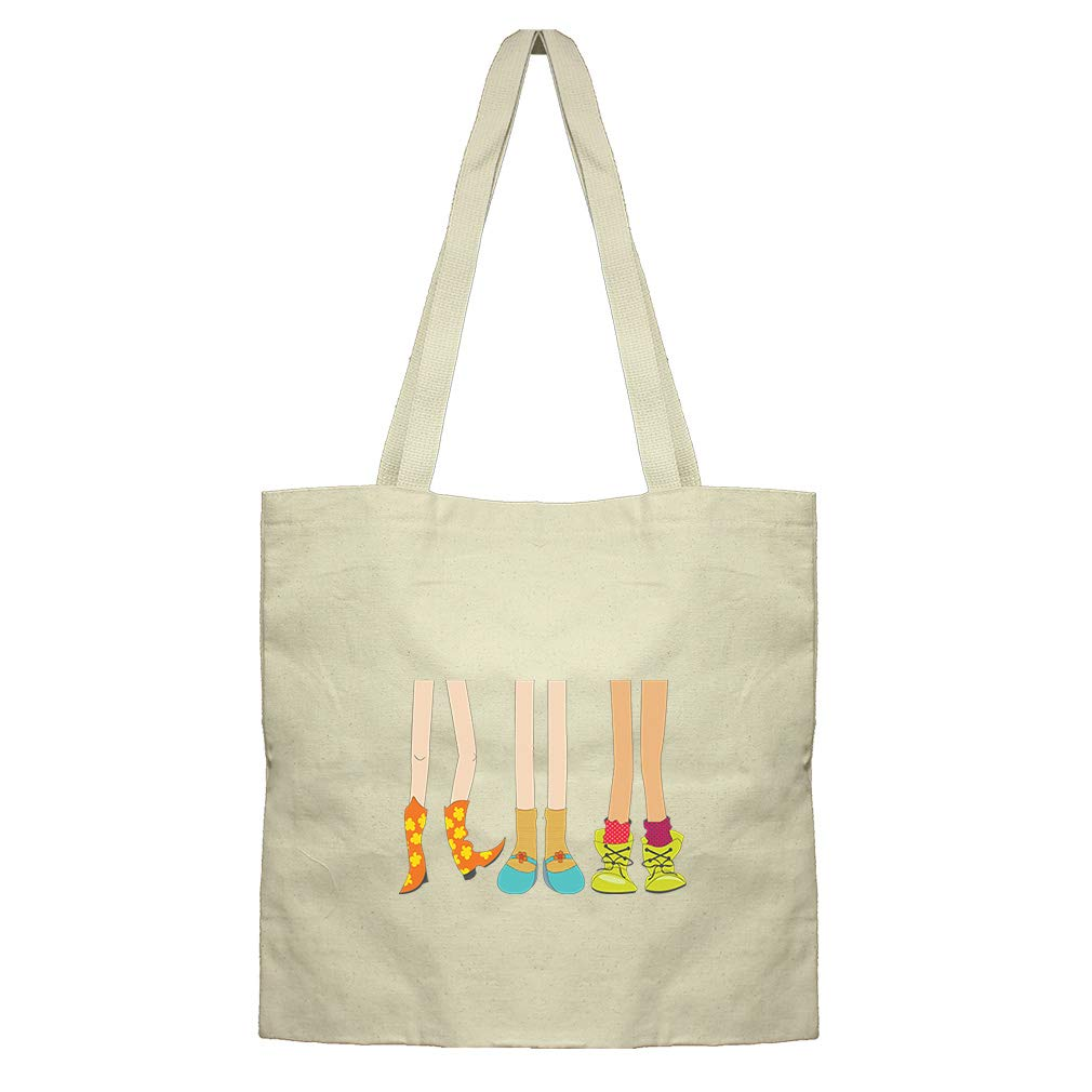 Legs In Different Boots Cotton Canvas Flat Market Tote Bag