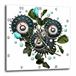 3dRose Cool Steampunk Barometer and Aqua Roses - Wall Clock, 10 by 10-Inch (DPP_102671_1) 4