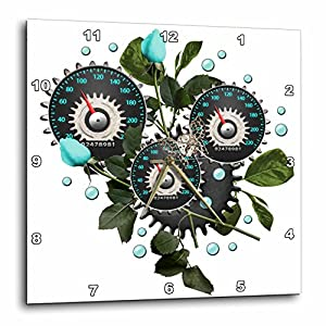 3dRose Cool Steampunk Barometer and Aqua Roses – Wall Clock, 10 by 10-Inch (DPP_102671_1)
