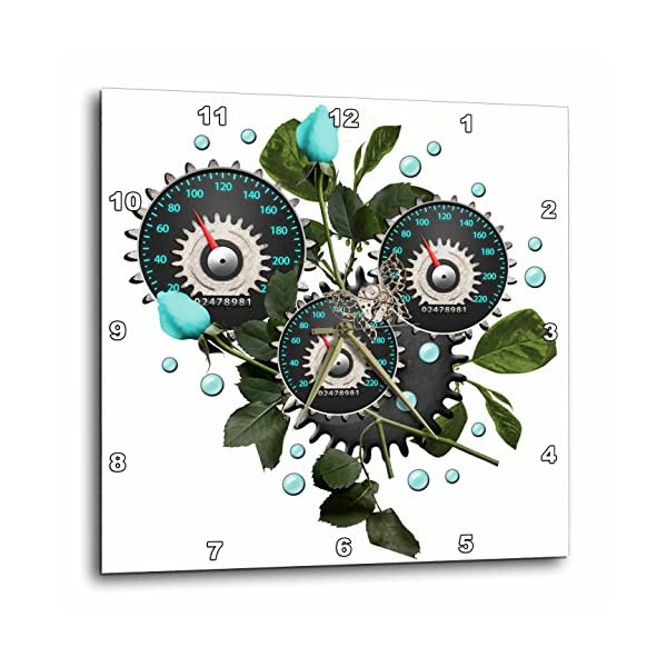 3dRose Cool Steampunk Barometer and Aqua Roses - Wall Clock, 10 by 10-Inch (DPP_102671_1) 3