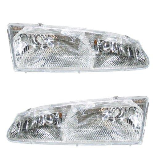 (96-97 Thunderbird Tbird Cougar Headlights Headlamps Head Lights Lamps Pair Set)