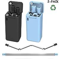 Lx-Top Pajita Plegable Reutilizable de Acero Inoxidable Apto