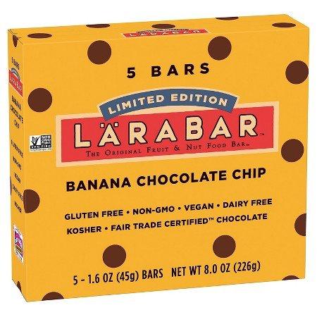 Larabar Gluten Free Bar Banana Chocolate Chip 1.6 oz Bars (2 Pack of 5 Bars each Pack)
