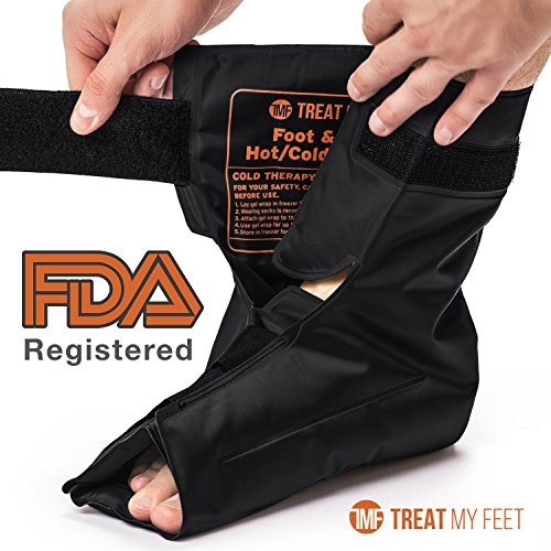 Foot & Ankle Pain Relief Hot/Cold Gel Wrap - Effectively Relieve Foot and Ankle Aches & Pains Using Compression Gel Ankle Ice Pack Wrap - Heated or Cooled, Targets All Areas of Ankle & Foot