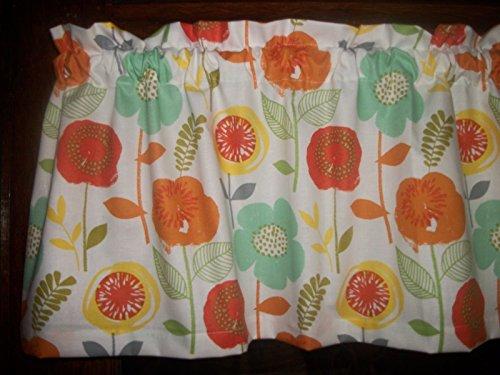 Teal Orange Yellow Flowers retro mod fabric window topper curtain ()