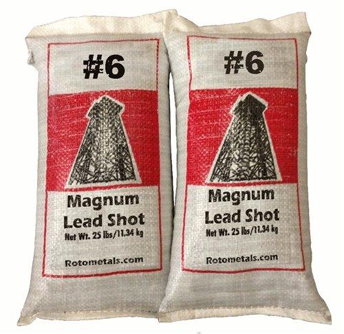 Magnum Lead Shot #6 0.12 inch 50 Lbs 2-25 Pound Bags