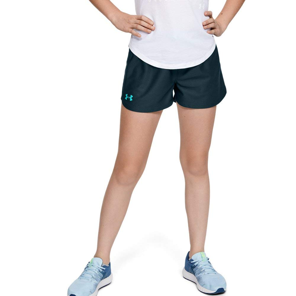 Under Armour Girls' Play Up Workout Gym Shorts, Tandem Teal (431)/Breathtaking Blue, Youth Medium by Under Armour
