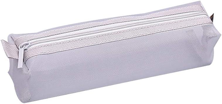 Qinlee - Estuche de malla transparente para cartas, papeles, papelería, neceser, neceser para cosméticos, estuche para cartas, papel de carta, color gris, Blanco: Amazon.es: Bricolaje y herramientas