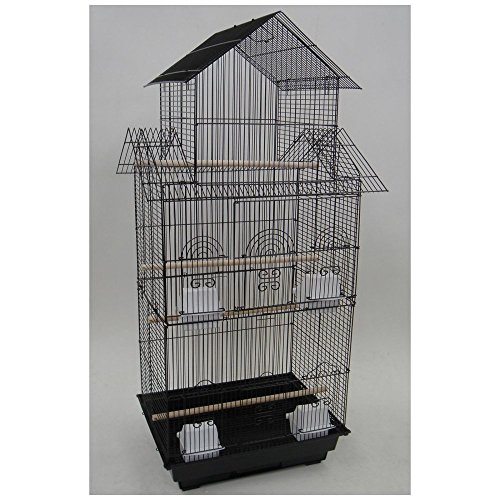 YML 6844 3/8″ Bar Spacing Tall Pagoda Top Bird Cage with Stand