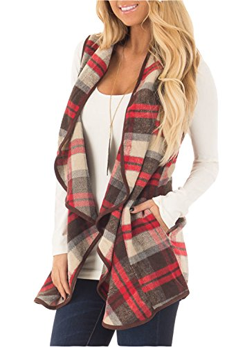 FOXRED Women's Turn-down Collar Casual Slash Hem Plaid Sleeveless Open Front Cardigan Vest with Pocket (S-2XL) (X-Large, Red) (Women Vest)