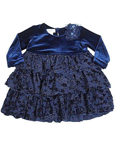Dress Jumper Velour (Jumpers - Baby Girls Velour Dress, Navy 12214-24Months)