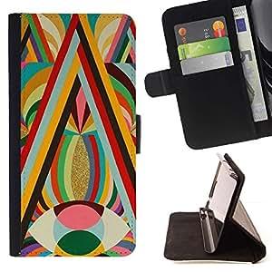 For Sony Xperia M5 E5603 E5606 E5653 Case , Patrones ojo amarillo Colores Negrita caliente- la tarjeta de Crédito Slots PU Funda de cuero Monedero caso cubierta de piel