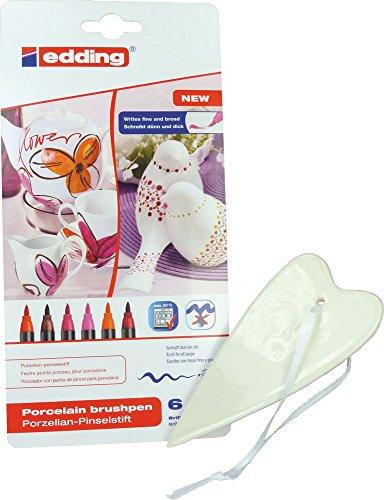 SET: Porzellan-Herz - ca. 5,5 x 12,5 cm + Edding 4200 Porzellan-Pinselstifte warme Farben (6 Stifte) - für kreatives Basteln zu Hause