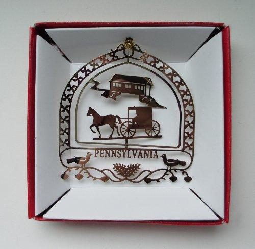 Pennsylvania Amish Christmas ORNAMENT Horse Buggy Farm Dutch Hearts Birds
