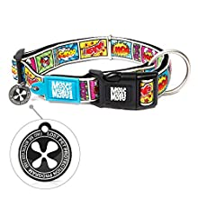 Max & Molly Ultra Comfortable Padded Neoprene Sport Dog Collar with Smart ID Tag, Comic XS