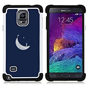 GIFT CHOICE / Defensor Cubierta de protección completa Flexible TPU Silicona + Duro PC Estuche protector Cáscara Funda Caso / Combo Case for Samsung Galaxy Note 4 SM-N910 // Moon Blue Art Minimalist //