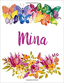 Mina Flower Notebook Writing Journal For Girls Personalized With