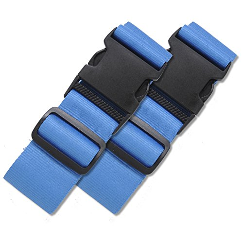 - 2 Pack Luggage Straps Set Suitcase Belts Bold Blue Luggage Tags ID TSA Approved Luggage Strap Carry On Adjustable Security Straps