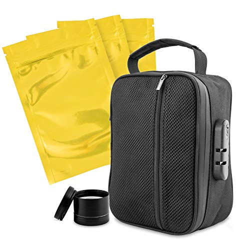 - Compact smell proof bag with lock + 5 resealable bags, Bags, Container, For discreet, Smellproof case, Metal Combo locks, odorless pouch stores Herb, tea, coffee, lighters, pipes