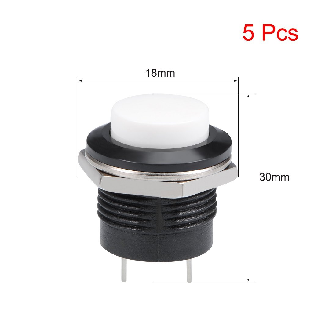 uxcell 5Pcs,16mm White Momentary Push Button Switch Round Raised Button R13-507 SPST 1 NO 1 NC