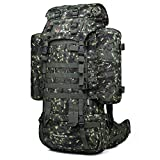 Mardingtop 65+10L Internal Frame Backpack Tactical Military Molle Rucksack for Hunting Shooting Camping Hiking Traveling with Rain Cover, YKK Zipper YKK Buckle Camouflage