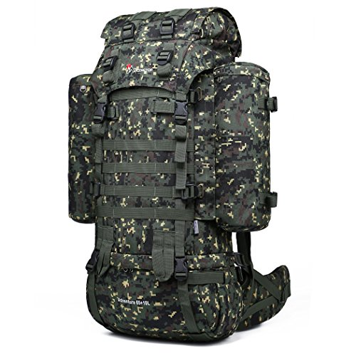 (Mardingtop 65+10L Internal Frame Backpack Tactical Military Molle Rucksack for Camping Hiking Traveling with Rain Cover, YKK Zipper YKK Buckle Camouflage)
