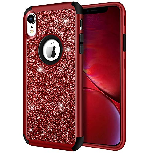 iPhone XR Case, Hython Heavy Duty Full-Body Defender Protective Case Bling Glitter Sparkle Hard Shell Armor High Impact Hybrid Shockproof Silicone Rubber Bumper Cover for iPhone XR 6.1-Inch, Red