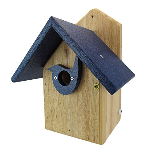 Nature's Way Bird Products Post Mount Cedar Wren House w/Blue Poly Roof & Birdhouse Predator Guard Portal Cedar Roof Birdhouse