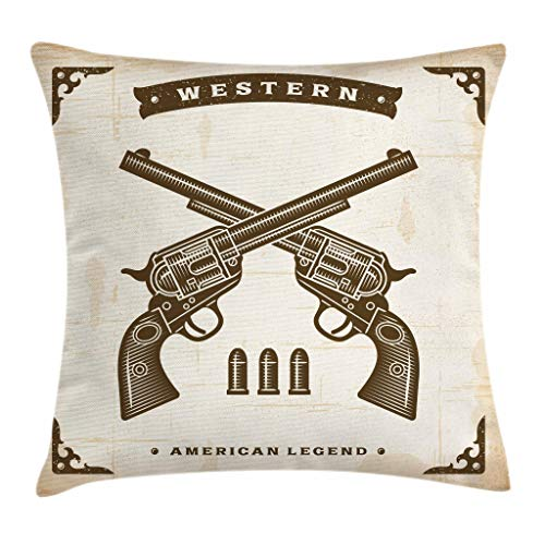 (Ambesonne Western Throw Pillow Cushion Cover by, Vintage Western Revolvers in Crossed Position with Bullets Stylized Framework, Decorative Square Accent Pillow Case, 18 X 18 Inches, Tan Dark Brown)